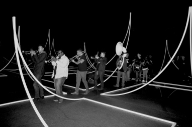 Nomadic Landscape Installation at ArtStreet with Elements Brass Band in Sacramento, 2017