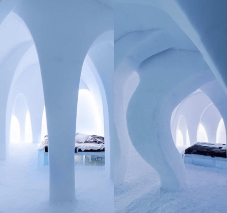 The Flying Buttress Art Suite // Before and After the Winter at the 26th ICEHOTEL in Jukkasjärvi, 2015
